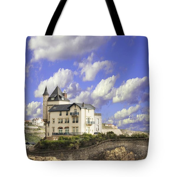 View Of The Beautiful Castle On The Bay Of Biscay Of The Atlantic Ocean Tote Bag