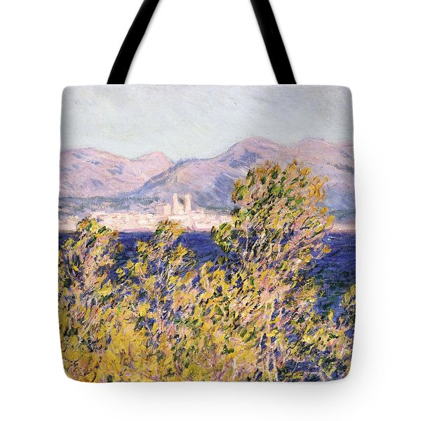 View Of The Cap Dantibes With The Mistral Blowing Tote Bag by Claude Monet