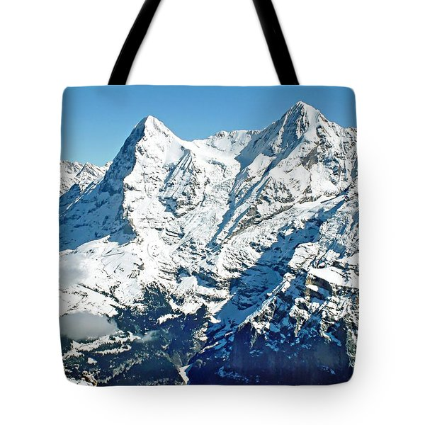 View Of The Eiger From The Piz Gloria Tote Bag by Joseph Hendrix