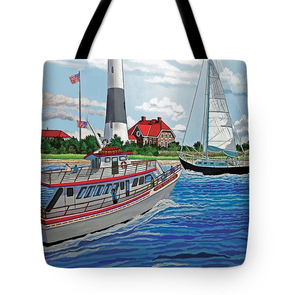 View Of The Fire Island Lighthouse From The Great South Bay Tote Bag
