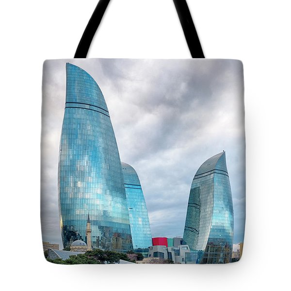 Tote Bag featuring the photograph View Of The Flame Towes Of Baku by Fabrizio Troiani