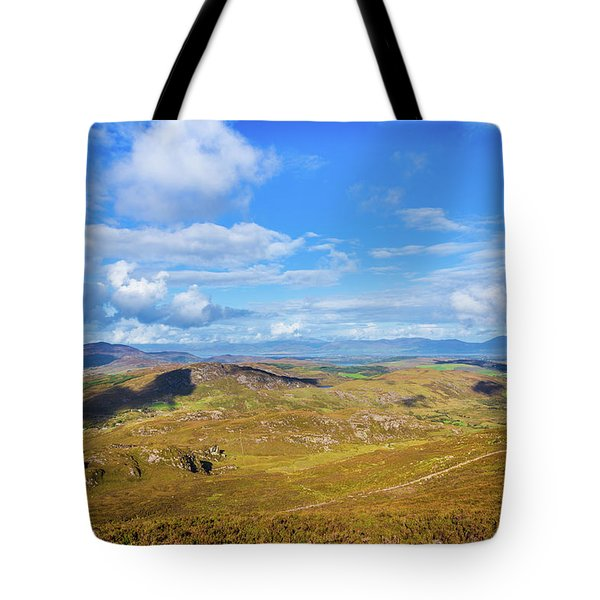 Tote Bag featuring the photograph View Of The Mountains And Valleys In Ballycullane In Kerry Irela by Semmick Photo