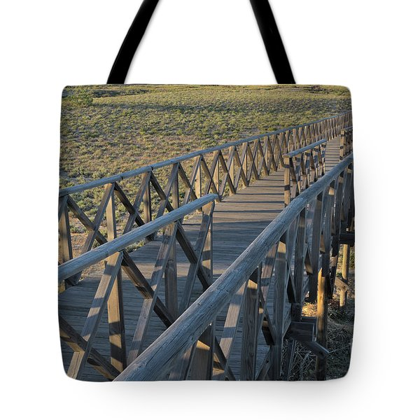 View Of The Wooden Bridge In Quinta Do Lago Tote Bag by Angelo DeVal