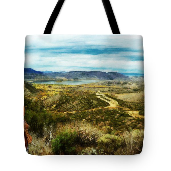 View Of Vail Lake On Horseback Tote Bag