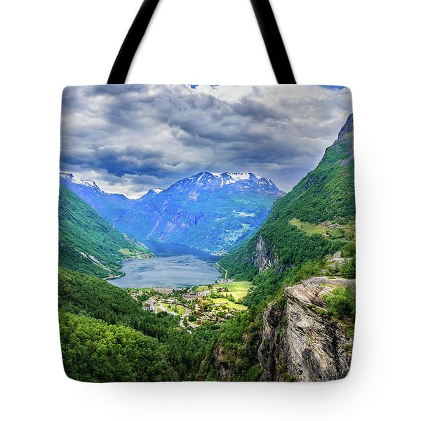 Tote Bag featuring the photograph View On Geiranger From Flydalsjuvet by Dmytro Korol