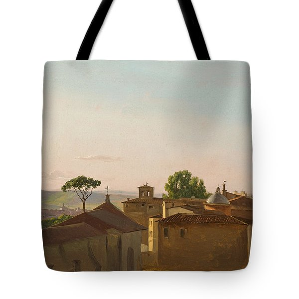 Tote Bag featuring the painting View On The Quirinal Hill. Rome by Simon Denis