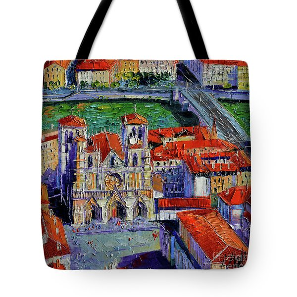 View Over Cathedral Saint Jean Lyon Tote Bag
