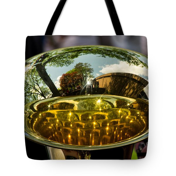 View Through A Sousaphone Tote Bag
