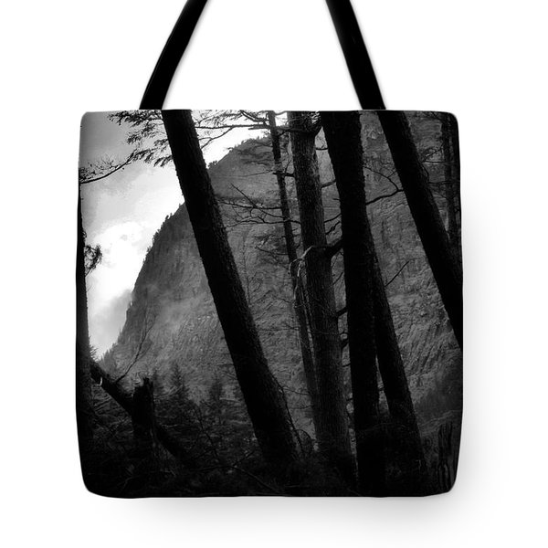View Through The Trees Black And White Tote Bag