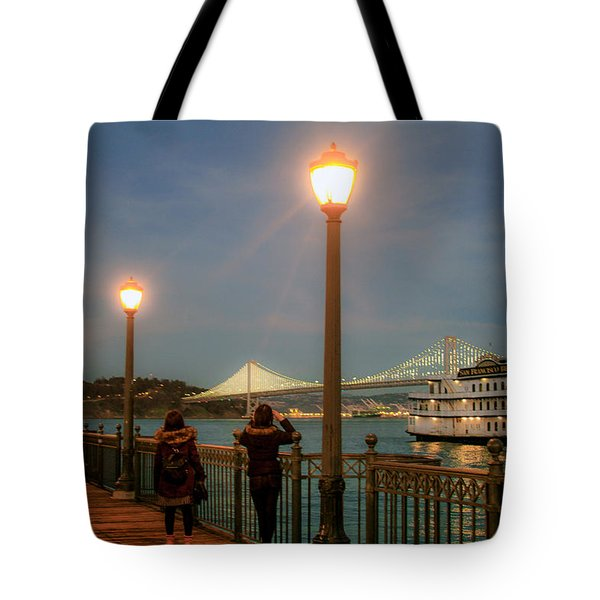 Viewing The Bay Bridge Lights Tote Bag