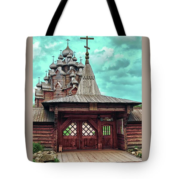 views of Holy gates and Church of the Intercession of the blessed virgin Mary Tote Bag