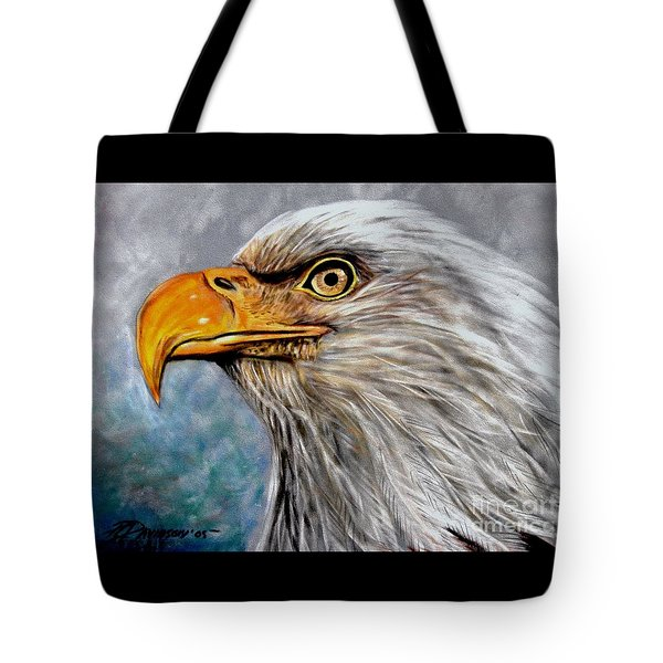 Tote Bag featuring the painting Vigilant Eagle by Patricia L Davidson