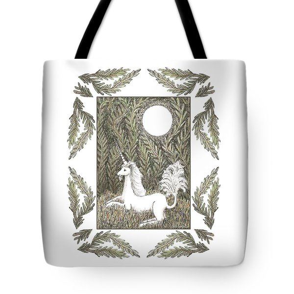 Tote Bag featuring the drawing Vigilant Unicorn by Lise Winne