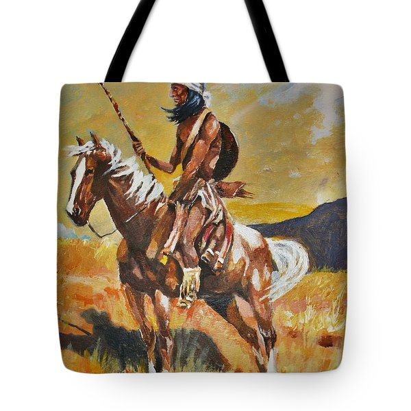 Tote Bag featuring the painting Vigilante Apache by Al Brown