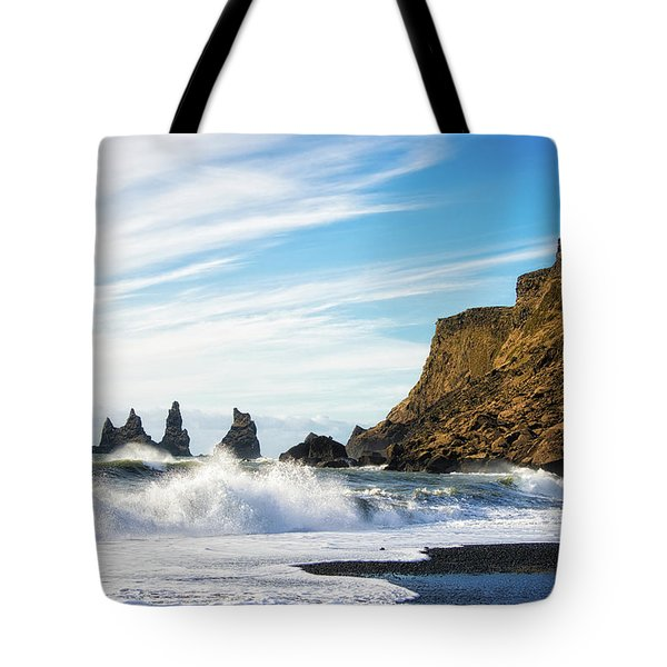 Tote Bag featuring the photograph Vik Reynisdrangar Beach And Ocean Iceland by Matthias Hauser