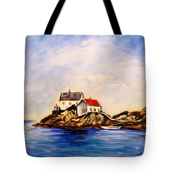 Vikeholmen Lighthouse Tote Bag