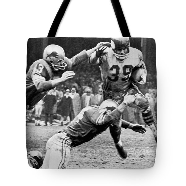 Viking Mcelhanny Gets Tackled Tote Bag by Underwood Archives