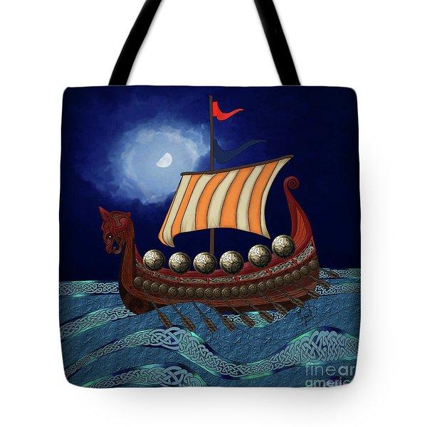 Tote Bag featuring the digital art Viking Ship by Megan Dirsa-DuBois