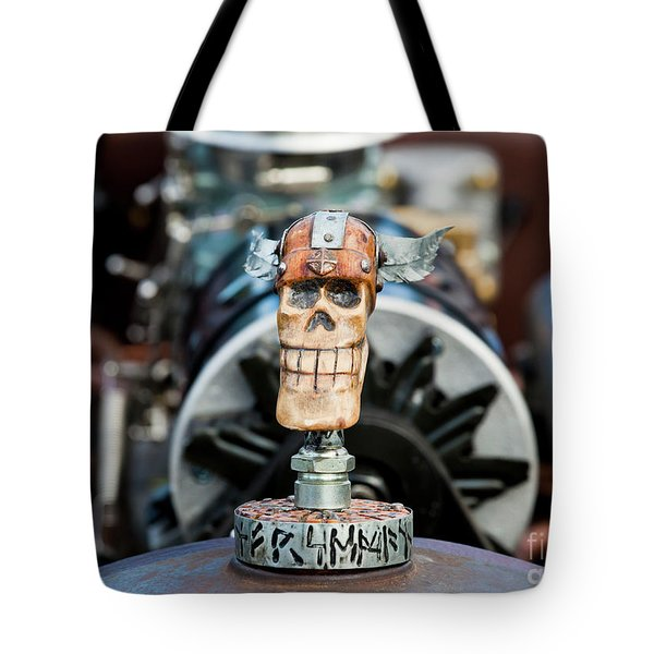 Tote Bag featuring the photograph Viking Skull Hood Ornament by Chris Dutton