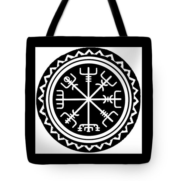 Tote Bag featuring the digital art Viking Vegvisir Compass by Vagabond Folk Art - Virginia Vivier