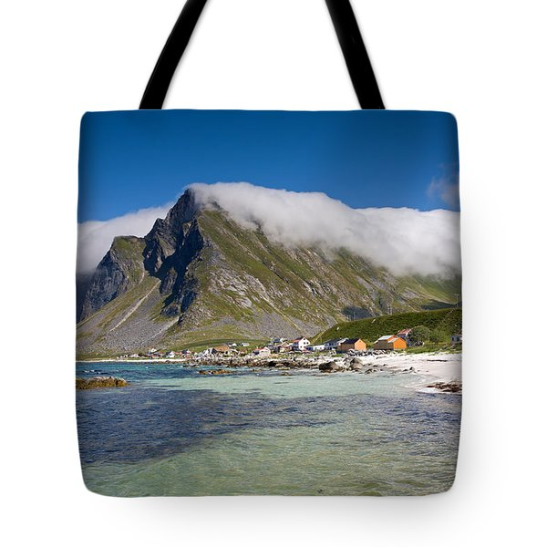 Vikten Beach With Clouds Tote Bag