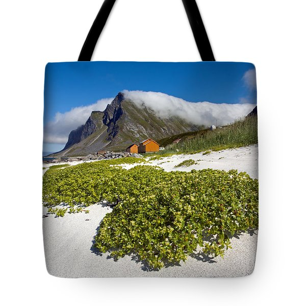Vikten Beach With Green Grass, Mountains And Clouds Tote Bag