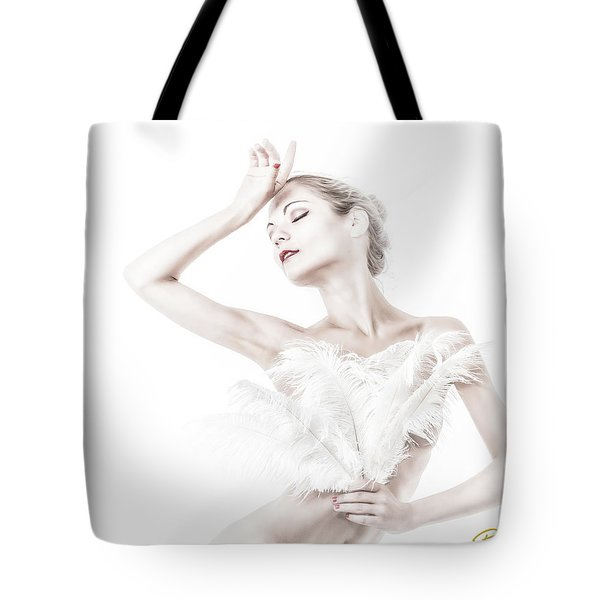 Viktory In White - Feathered Tote Bag