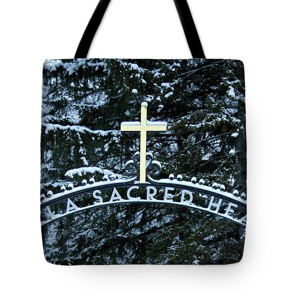 Villa Sacred Heart Winter Retreat Golden Cross Tote Bag by John Stephens
