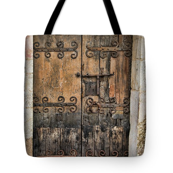 Village Chateau French Old Ancient Door Color  Tote Bag