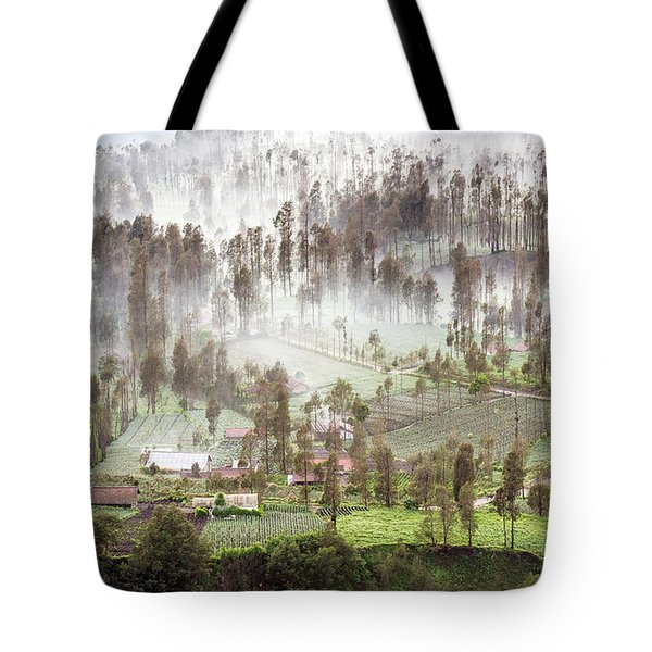 Village Covered With Mist Tote Bag