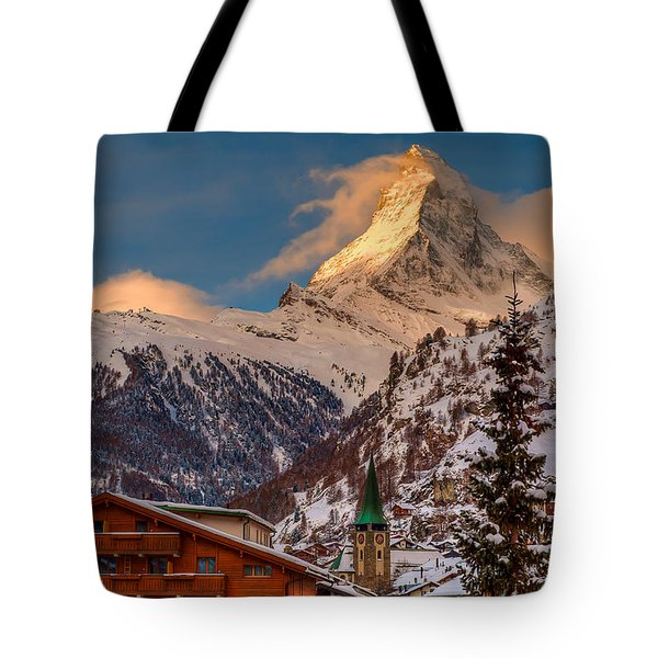 Village Of Zermatt With Matterhorn Tote Bag