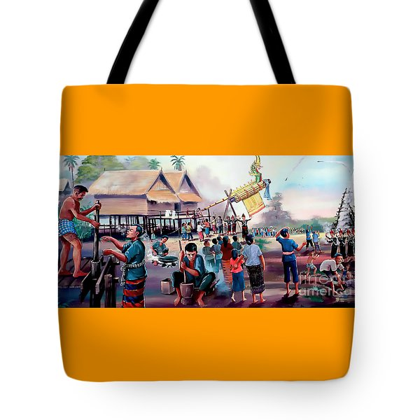 Village Rocket Festival-vintage Painting Tote Bag by Ian Gledhill