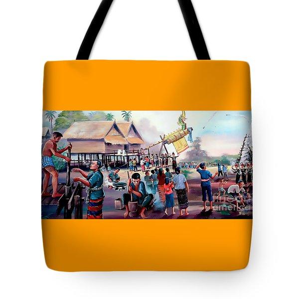 Village Rocket Festival-vintage Painting Tote Bag