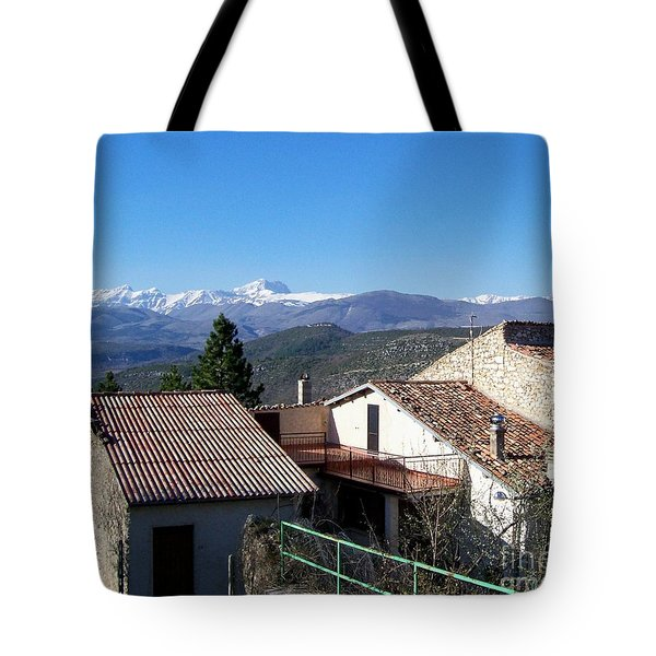 Tote Bag featuring the photograph Village Rooftops by Judy Kirouac