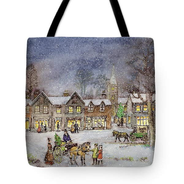 Village Street In The Snow Tote Bag by Stanley Cooke