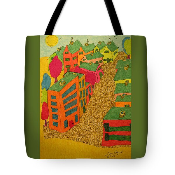 Village With Blue Sliver Moon Tote Bag