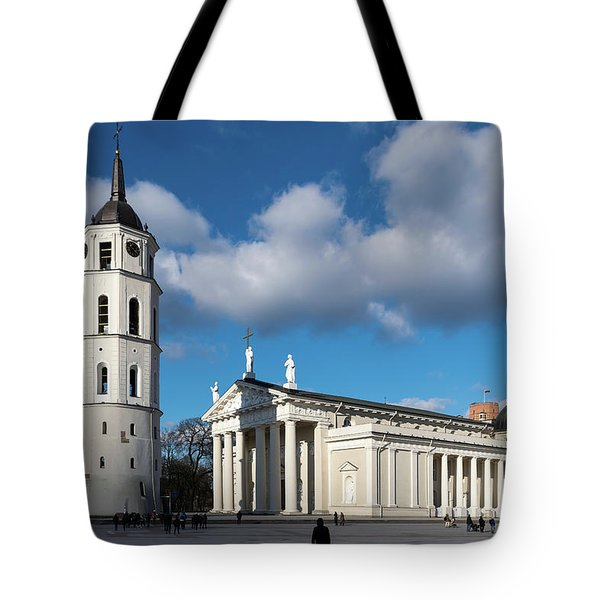 Vilnius Bell Tower And Cathedral Tote Bag