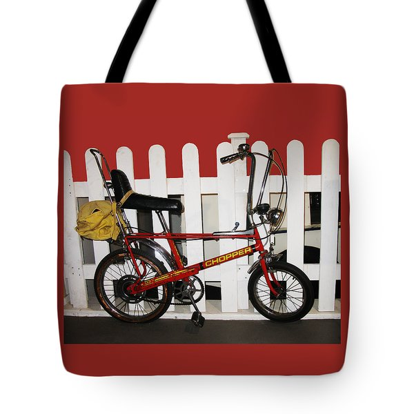 Vintage 1970s Bike With Rucksack  Tote Bag