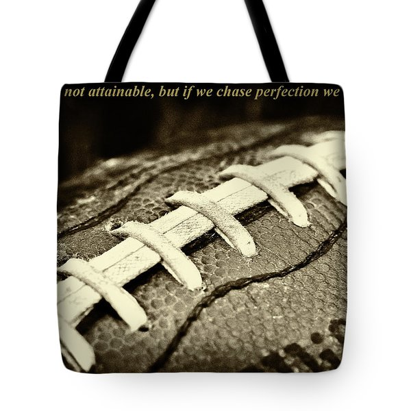Vince Lombardi Perfection Quote Tote Bag by David Patterson