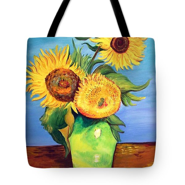 Tote Bag featuring the painting Vincent's Sunflowers by Patricia Piffath