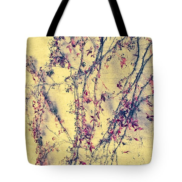 Vines On Yellow Wall Abstract Tote Bag by Tony Grider