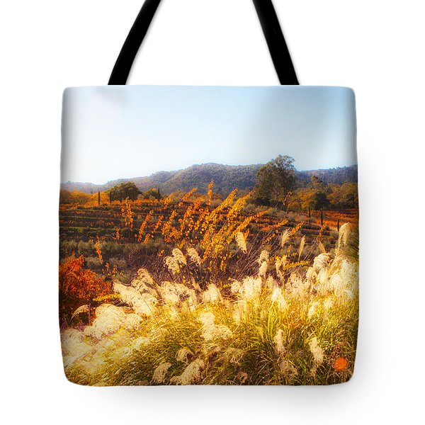 Tote Bag featuring the photograph Vineyard Afternoon By Mike-hope by Michael Hope