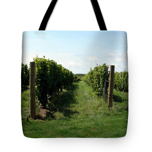 Vineyard On The Peninsula Tote Bag by Michelle Calkins