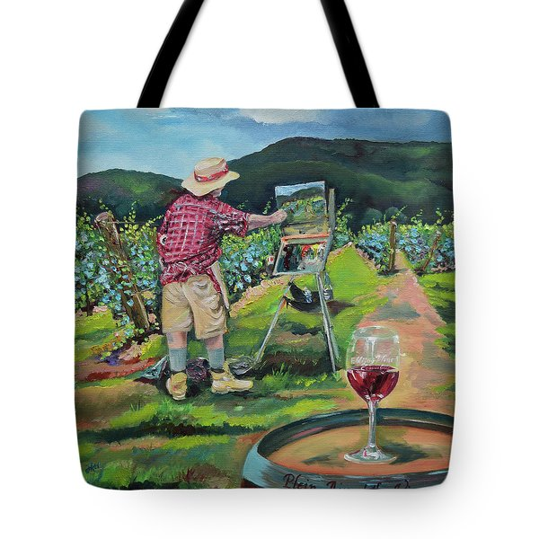Tote Bag featuring the painting Vineyard Plein Air Painting - We Paint With Wine by Jan Dappen