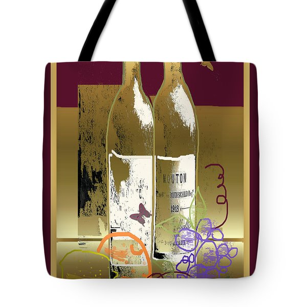 Vin, Fruit, Et Papillons Tote Bag