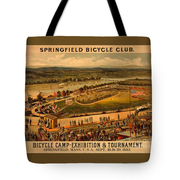 Tote Bag featuring the photograph Vintage 1883 Springfield Bicycle Club Poster by John Stephens