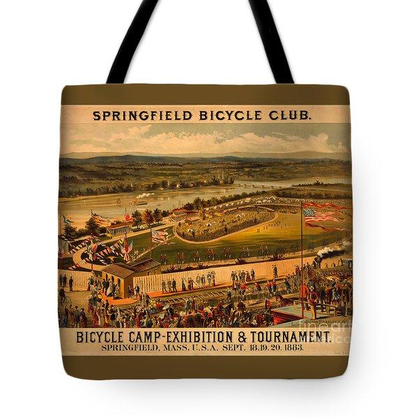Vintage 1883 Springfield Bicycle Club Poster Tote Bag by John Stephens