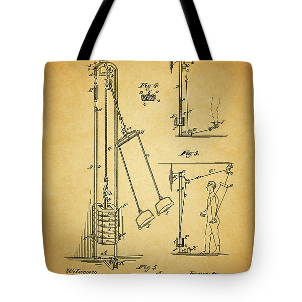 Vintage 1885 Exercising Device Patent Tote Bag by Dan Sproul