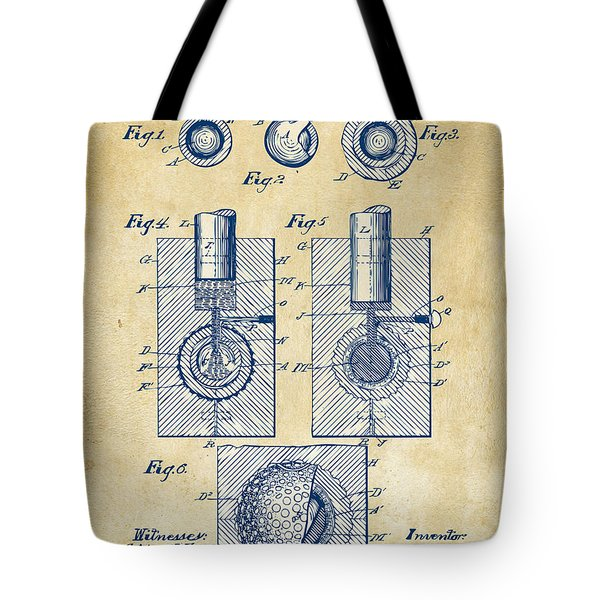 Vintage 1902 Golf Ball Patent Artwork Tote Bag by Nikki Marie Smith