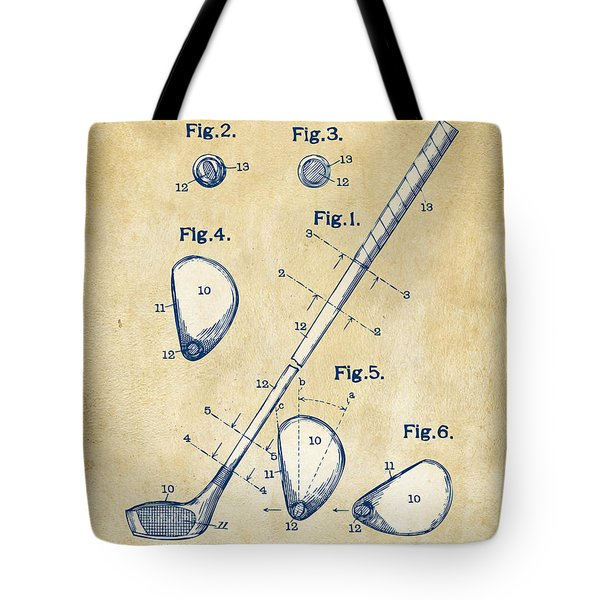 Vintage 1910 Golf Club Patent Artwork Tote Bag by Nikki Marie Smith